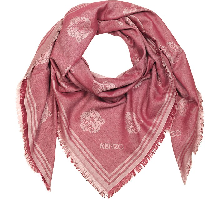 Red Cotton and Modal Tiger Wrap - Kenzo