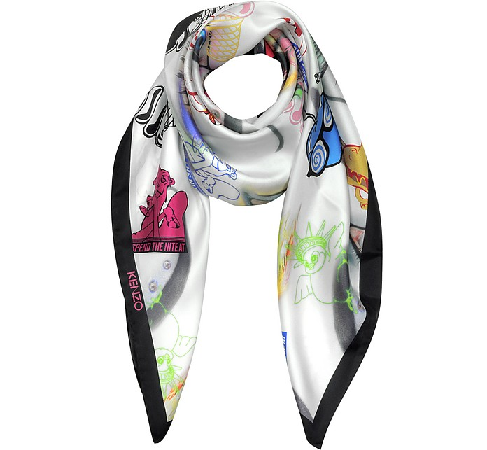 Spend the Nite At Signature Silk Square Scarf - Kenzo