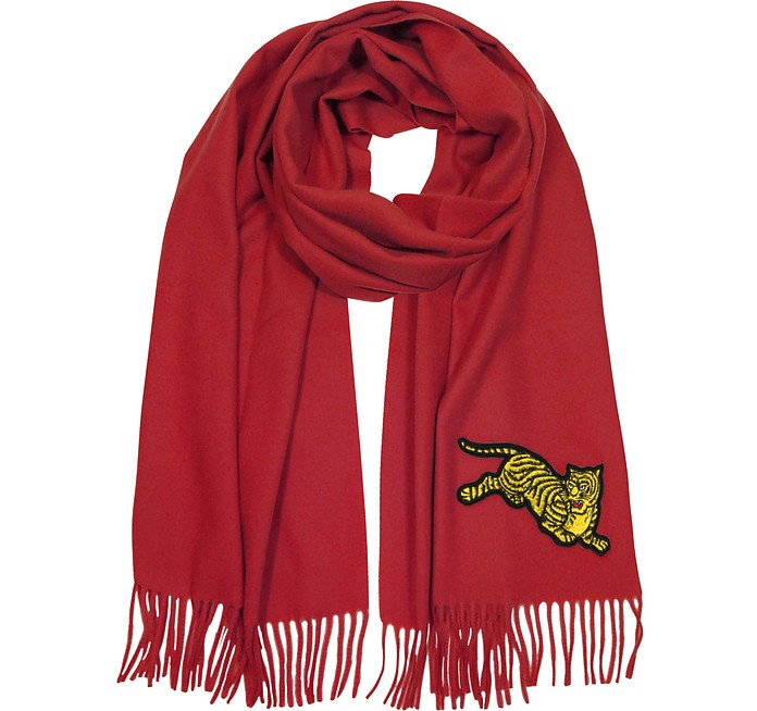 Flying Tiger Fringed Wool Scarf - Kenzo