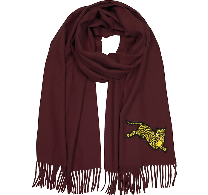 Jumping Tiger Fringed Wool Scarf - Kenzo