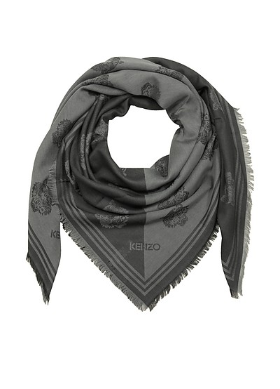 Dark Grey Cotton and Modal Tiger Wrap - Kenzo
