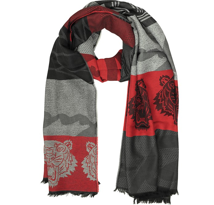 Red Wool Intarsia Tiger Scarf - Kenzo