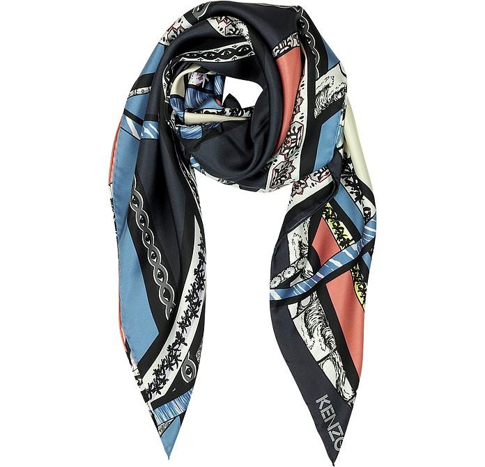Ribbons Printed Silk Square Scarf - Kenzo