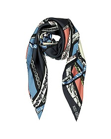 Ribbons Printed Silk Square Scarf