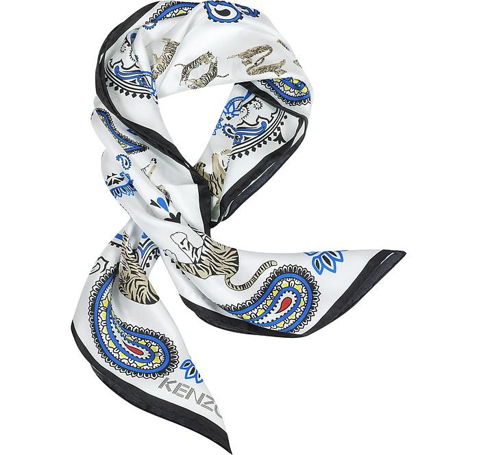 Pure Silk Tiger and Paisley Print Bandanna - Kenzo