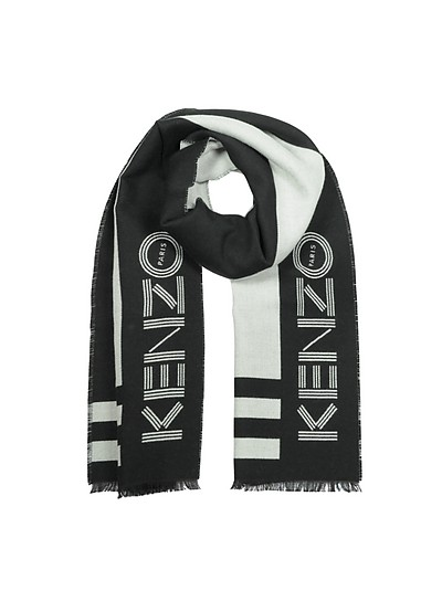 Black Wool Blend Signature Scarf - Kenzo