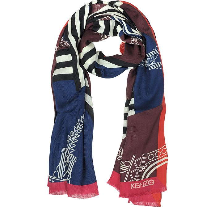 Tour Eiffel Wool and Silk Fringed Stole - Kenzo