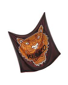 Tiger Head Print Wool and Silk Wrap