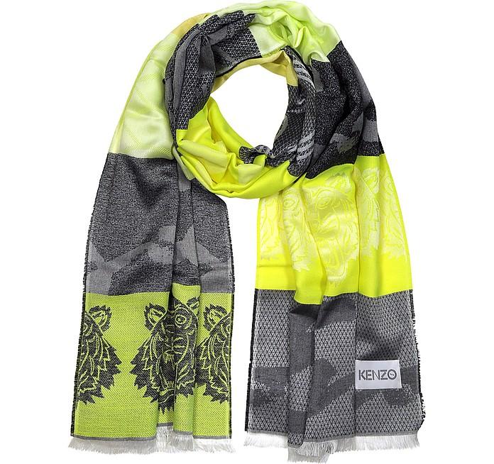 Wool Blend Intarsia Tiger Scarf - Kenzo