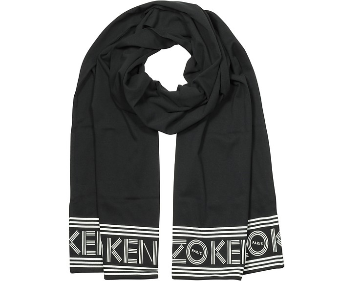Signature Black Cotton Long Scarf - Kenzo