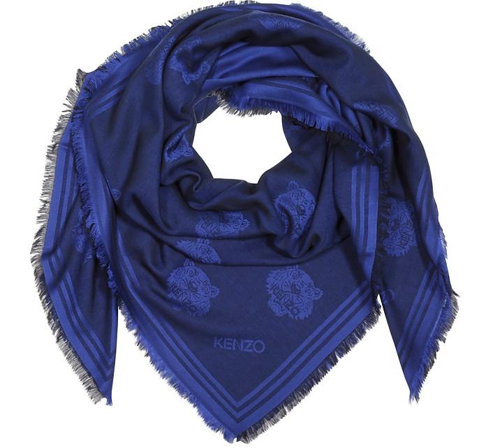 Blue Marine Modal and Cotton Jacquard Tiger Heads Wrap - Kenzo