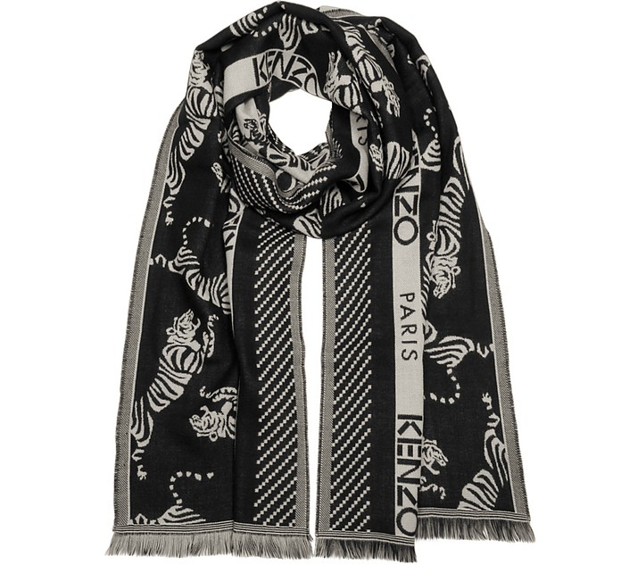 Repeat Jumping Tiger Mix Wool Scarf - Kenzo