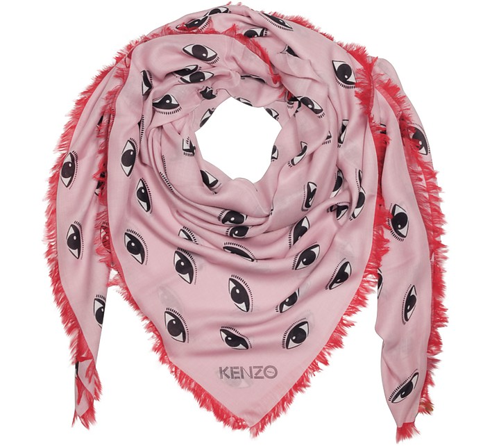 Contrasted Multieyes Modal & Silk Wrap - Kenzo