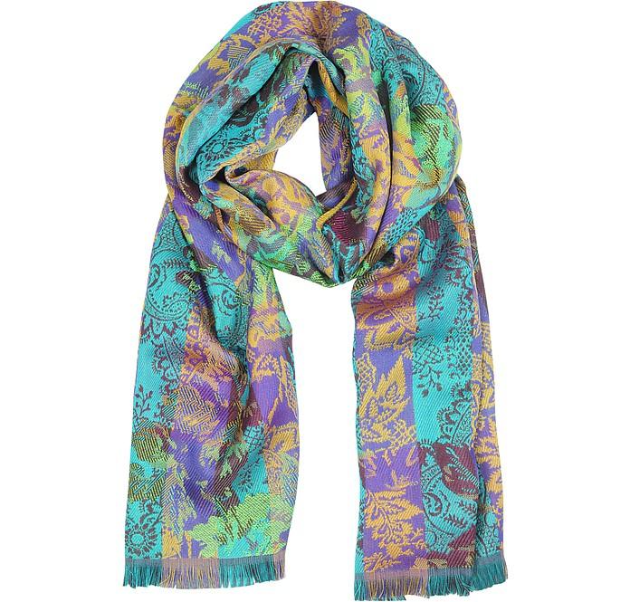 dffffcda883 Echarpe en laine et soie avec fleurs Kenzo Vert sur FORZIERI
