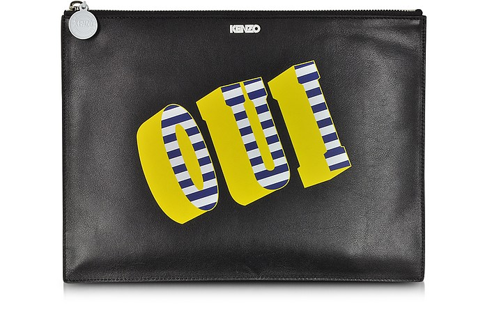 Oui & Non Leather Clutch - Kenzo