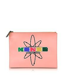 Nasa - Pochette en Cuir Rose Corail avec Signature Logo - Kenzo
