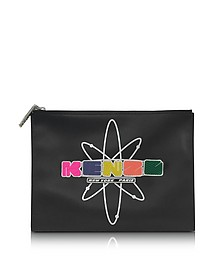 Black Leather Nasa Clutch w/Embossed Rubberized Logo - Kenzo