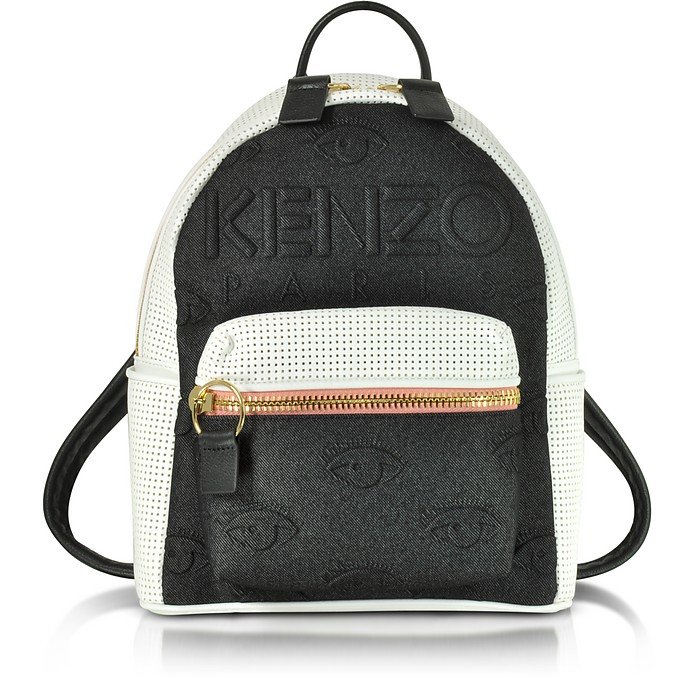 Metallic Denim Black and Leather Kombo Backpack - Kenzo