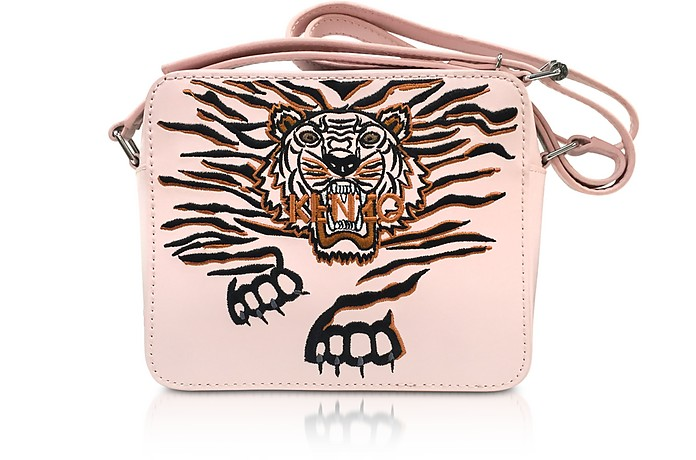 Faded Pink Leather Geo Tiger Camera Bag w/Tiger Embroidery - Kenzo