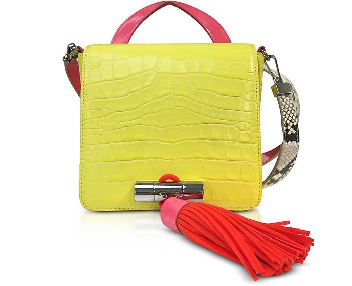 Mini Sailor Bag in Pelle Cocco Giallo limone Kenzo 5jFMk
