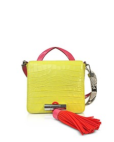 Lemon Croco Embossed Leather Mini Sailor Bag w/Fuchsia Oversized Tassel  - Kenzo