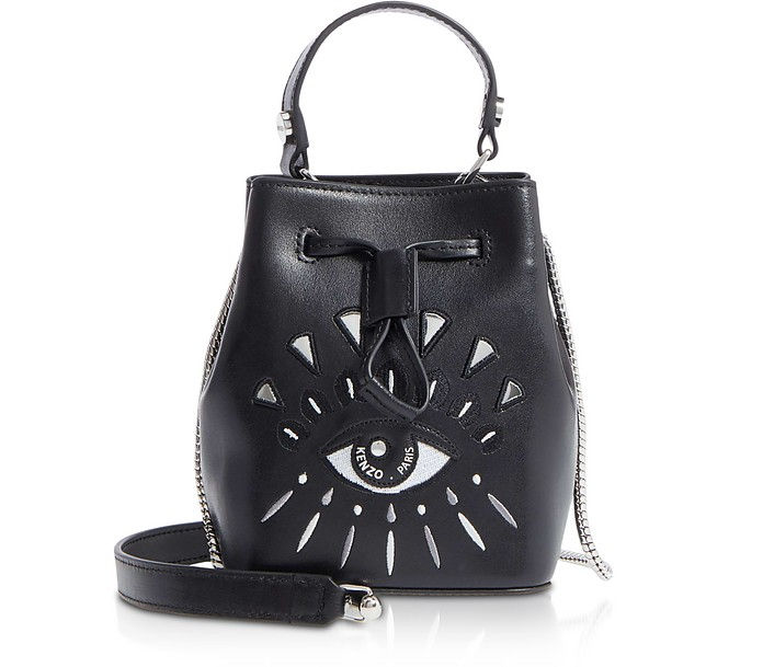 642abe27e4b Kenzo Eye Black Leather Mini Bucket Bag at FORZIERI Canada