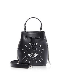 Eye Black Leather Mini Bucket Bag - Kenzo