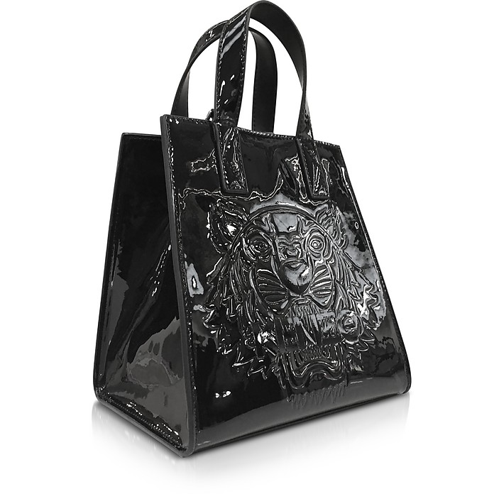 c6554b79a0ba Kenzo Black Patent Mini Tiger Tote Bag at FORZIERI