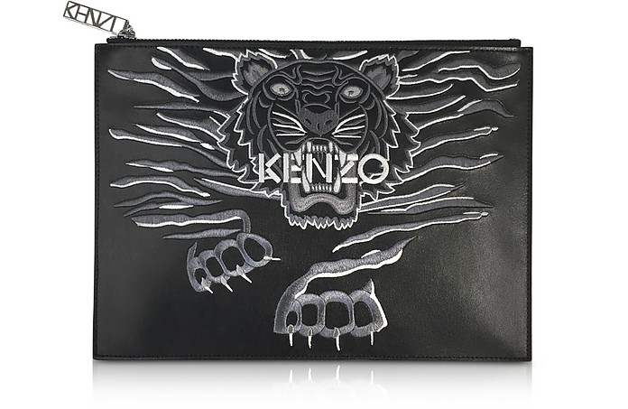 86a7e11cebc Kenzo Black Leather A4 Geo Tiger Clutch at FORZIERI