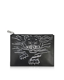 Black Leather A4 Geo Tiger Clutch - Kenzo