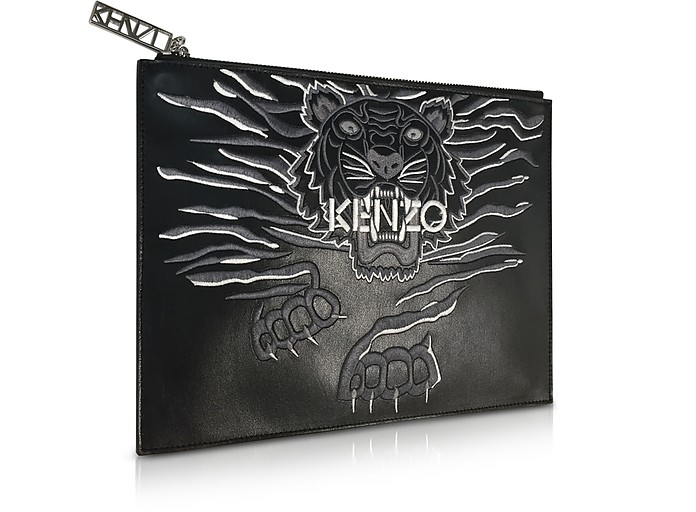 5785c698a17 Black Leather A4 Geo Tiger Clutch - Kenzo. Sold Out