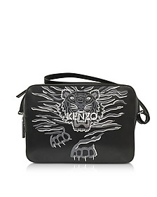 Black Leather Large Geo Tiger Crossbody Bag - Kenzo