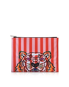Flamingo Pink Stripe Canvas A4 Tiger Clutch - Kenzo