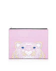 Flamingo Pink Canvas A4 Tiger Clutch - Kenzo
