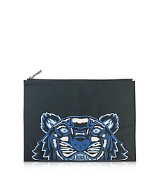 Dark Gray Canvas A4 Tiger Clutch - Kenzo