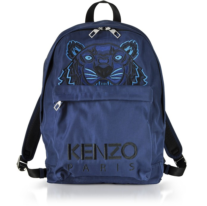 5fe7f8a1d0 Kenzo Navy Blue Canvas Large Tiger Backpack at FORZIERI
