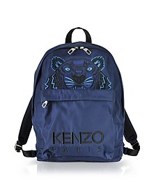 Navy Blue Canvas Large Tiger Backpack - Kenzo