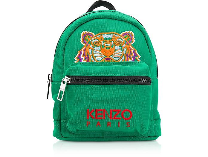 Zaino Tiger Mini in Canvas Verde Smeraldo Ricamato Kenzo j8cBEdoGVn