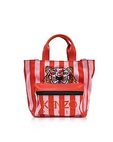 Flamingo Pink Stripe Canvas Tote Bag - Kenzo