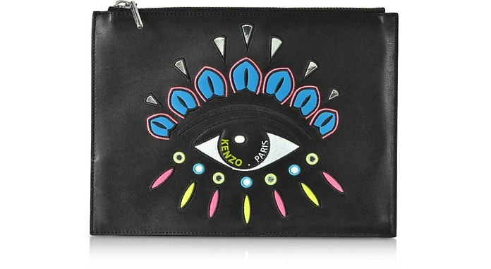 Eye Flat Split Leather Clutch - Kenzo