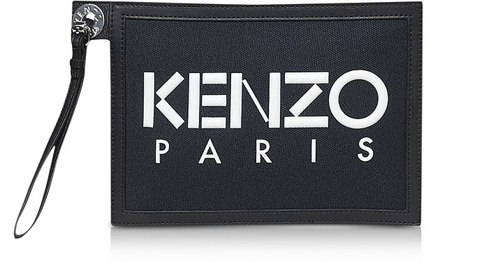 Kenzo Paris Canvas and Leather Clutch - Kenzo