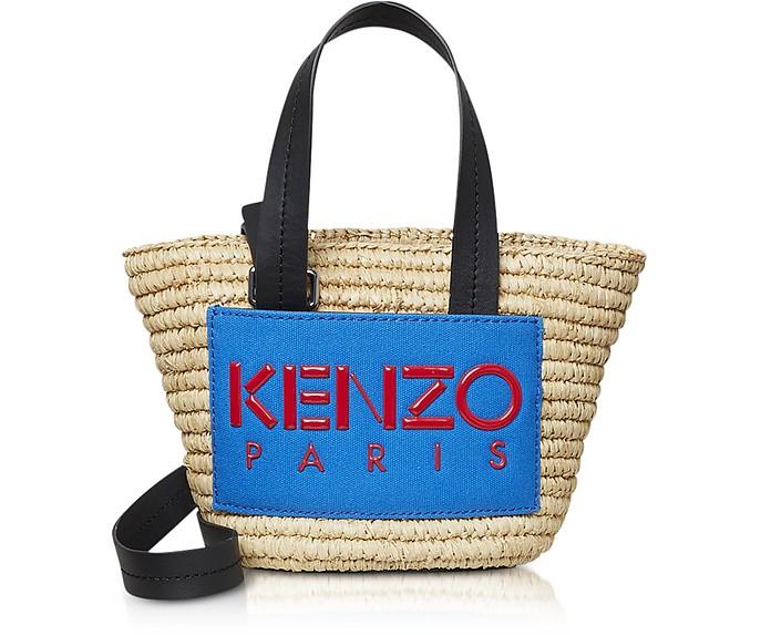 Small Logo Patch Raffia Tote Bag - Kenzo