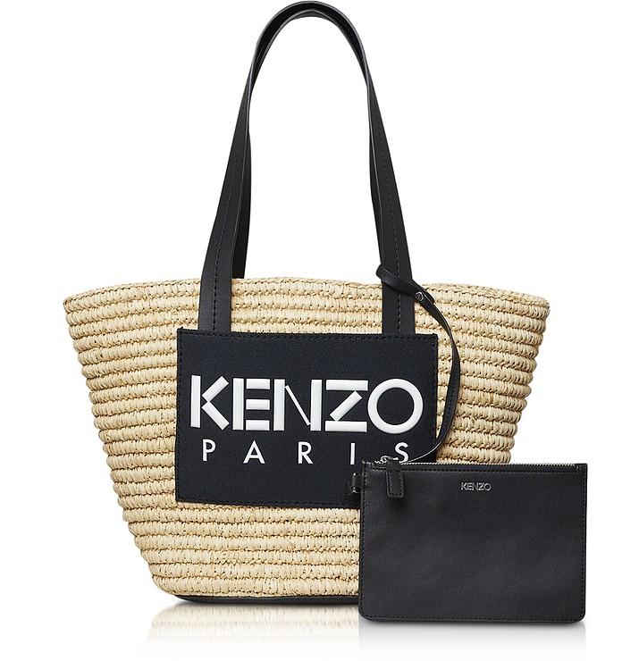 Logo Patch Raffia Tote Bag - Kenzo