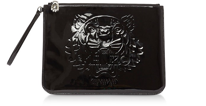 Black Preppy Tiger Embossed Eco-Leather Clutch - KENZO / ケンゾー