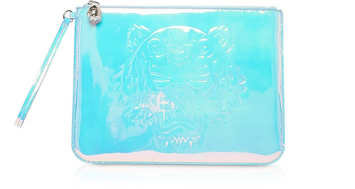 White Preppy Tiger Embossed Eco-Leather Clutch - Kenzo