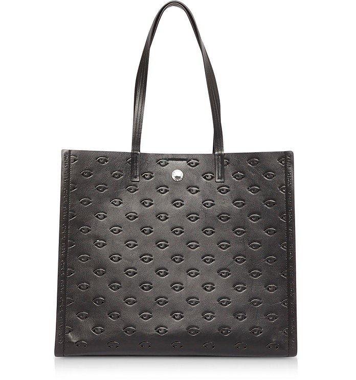 Kenzo Totes Black Leather Blink Large Tote