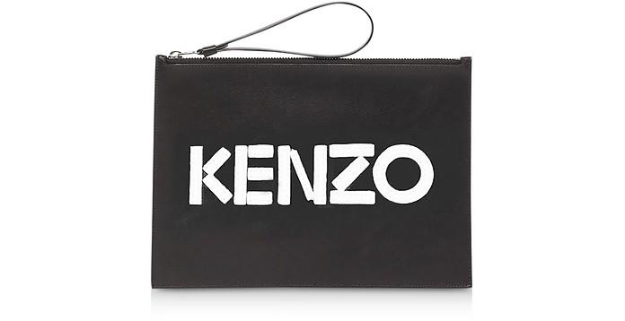 Kontrast Black Leather Large Pouch - Kenzo