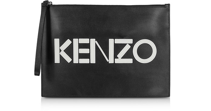 Kontrast Black Leather Large Pouch - Kenzo
