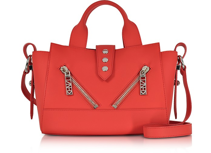 Fire Red Gommato Leather Mini Kalifornia Handbag - Kenzo