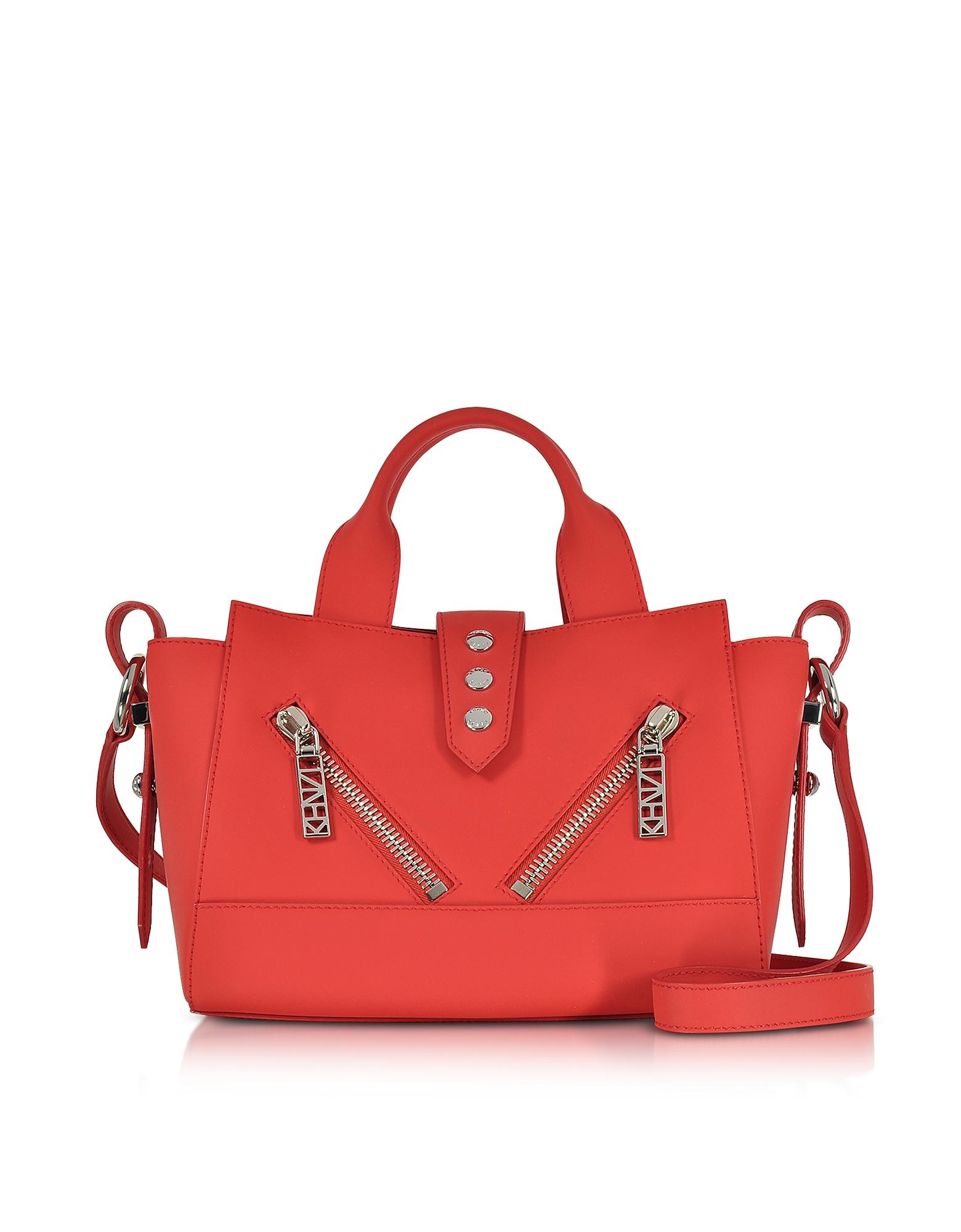 Kenzo Fire Red Gommato Leather Mini Kalifornia Handbag  6eaa68df47a67